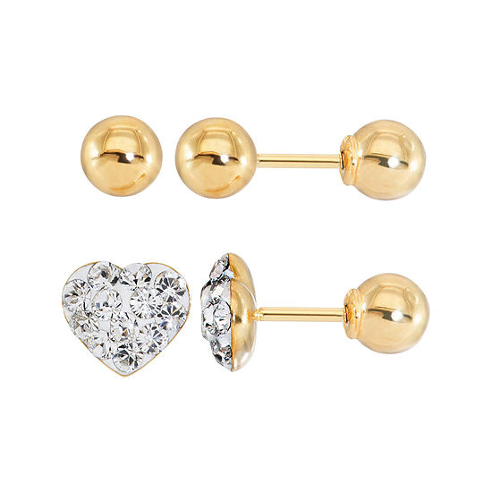 Infinite Gold Kids Crystal Heart 14k Yellow 2 Pr Stud Earring Set