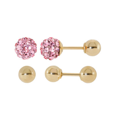 Infinite Gold™ Kids Pink Crystal 14K Yellow Gold 2-pr. Ball Stud Earring Set