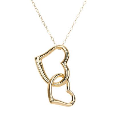 10K Yellow Gold Polished Open Interlocking Hearts Pendant Necklace