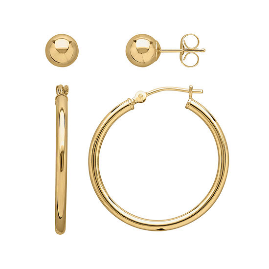 Infinite Gold™ 2-pc. 14K Yellow Gold Ball Stud and Hoop Earring Set