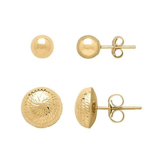 ed34010d5 Infinite Gold™ 14K Yellow Gold Ball and Dome Stud 2-pc. Earring Set -  JCPenney