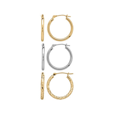 Infinite Gold™ 14K Two-Tone Gold 3-pr. Hoop Earring Set