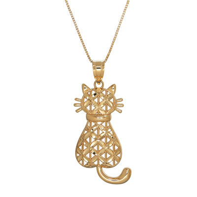 Infinite Gold™ 14K Yellow Gold Diamond-Cut Cat Pendant Necklace