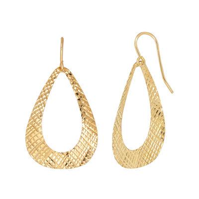 14K Yellow Gold Diamond-Cut Drop Earrings