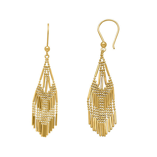 14k Yellow Gold Diamond Cut Beaded Mesh Drop Earrings