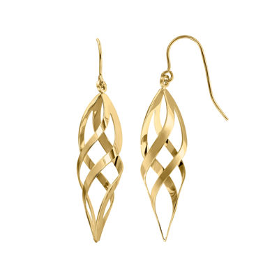 14K Yellow Gold Double Twist Drop Earrings