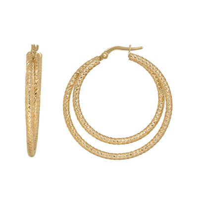 Made in Italy 14K Yellow Gold Diamond-Cut Double Hoop Earrings