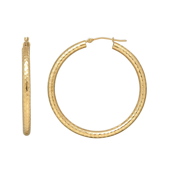 14K Yellow Gold Hammered Round Hoop Earrings