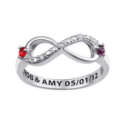 Personalized Cubic Zirconia Birthstone Sterling Silver Infinity Ring