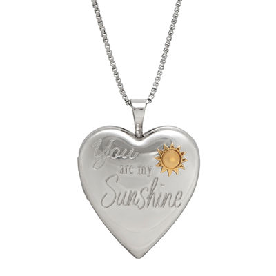 Sterling Silver You Are My Sunshine Heart Locket Pendant Necklace