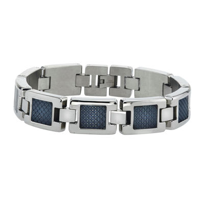 Mens Stainless Steel with Carbon Fiber Chain Bracelet