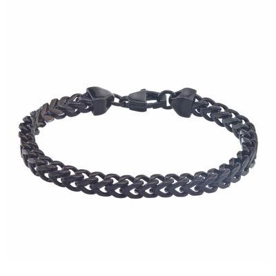 Mens Black IP Stainless Steel Square Wheat Link Bracelet