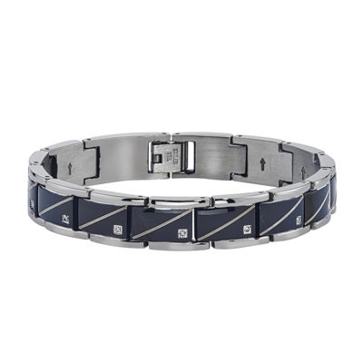 Mens Diamond Accent Black Stainless Steel Chain Bracelet