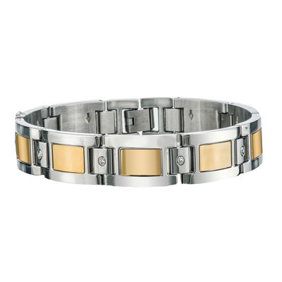 Mens 1/7 CT T.W. Diamond Stainless Steel Chain Bracelet