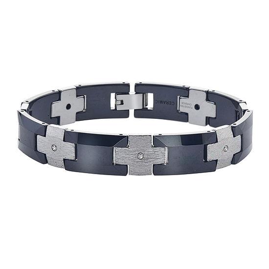 Mens 1/7 CT T.W. Diamond Tungsten and Ceramic Chain Bracelet