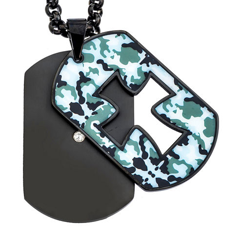 Mens Cubic Zirconia Camouflage Cutout Stainless Steel Cross Dog Tag Pendant