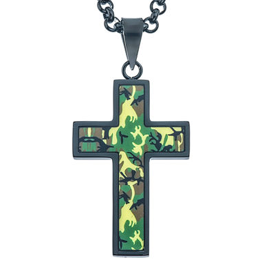Mens Black and Green Camouflage Stainless Steel Cross Pendant Necklace