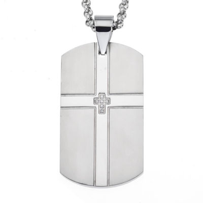 Cubic Zirconia Stainless Steel Double Cross Dog Tag Pendant
