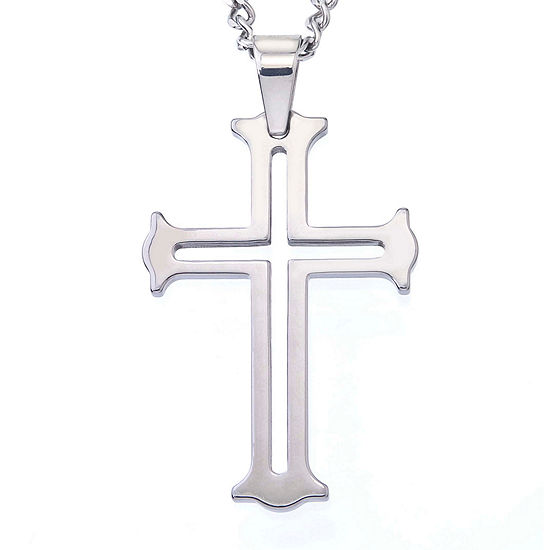 Mens Tungsten Cutout Cross Pendant Necklace