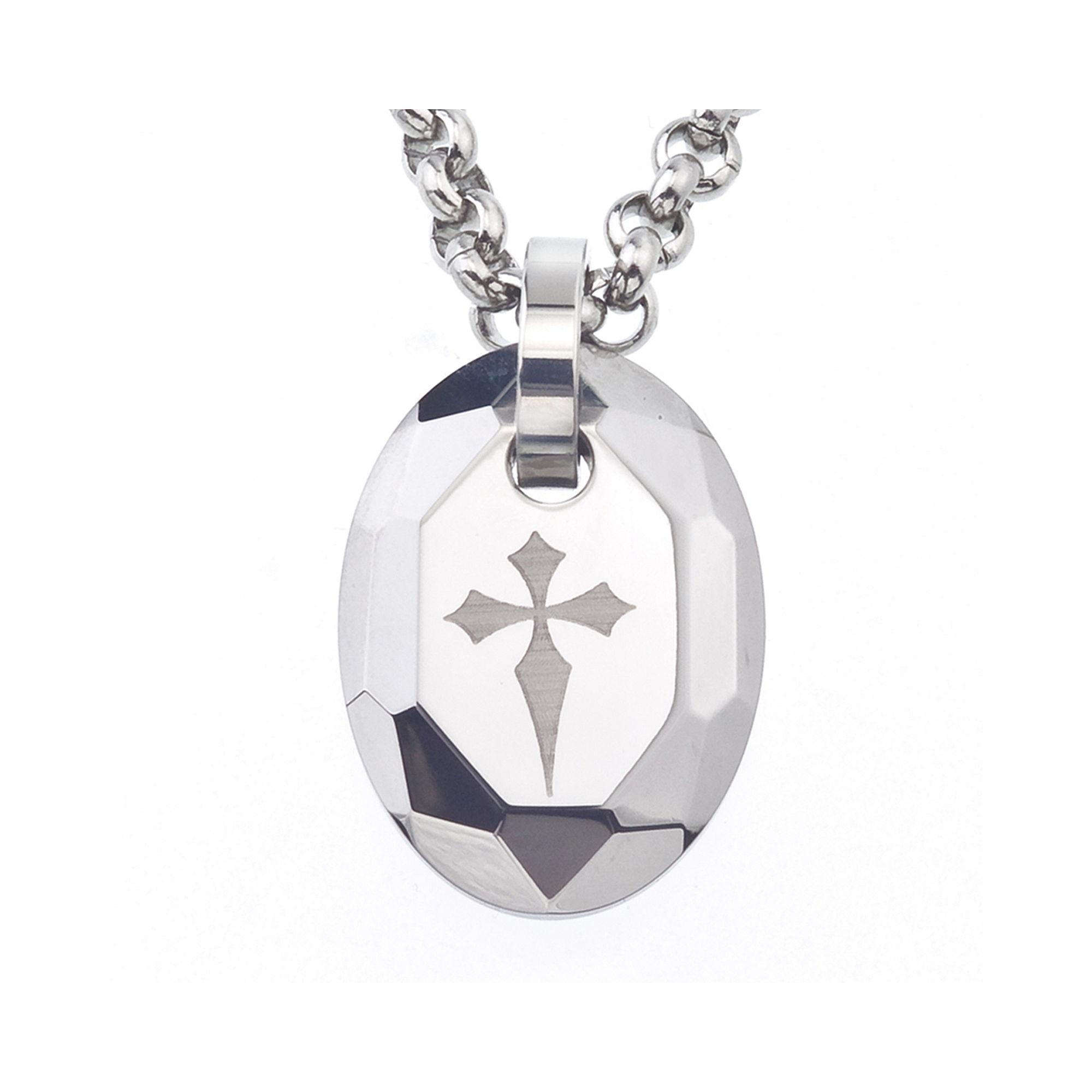 Mens Tungsten Cross Pendant Necklace