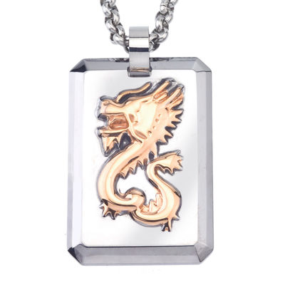 Mens Tungsten Dog Tag and Rose IP Stainless Steel Dragon Pendant Necklace