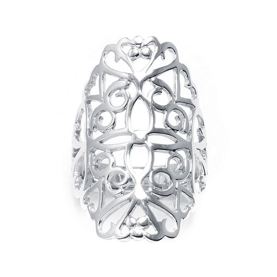 Sterling Silver Floral Filigree Ring