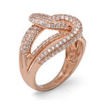 Cubic Zirconia 14K Rose Gold Over Sterling Silver Knot Ring