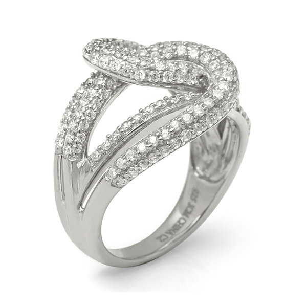 Cubic Zirconia Sterling Silver Knot Ring
