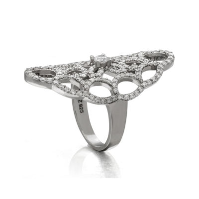 Cubic Zirconia Sterling Silver Webbed Ring