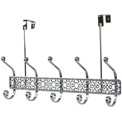 Home Basics 5-Hook Chrome Over-the-Door Hanging Rack
