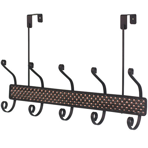 Home Basics 5-Hook Bronze Over-the-Door Hanging Rack