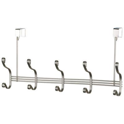 Home Basics Over-the-Door 5-Hook Satin Nickel Hanging Rack