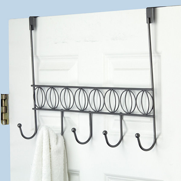 Home Basics Seville Over-the-Door 5-Hook Chrome Steel Hanging Rack