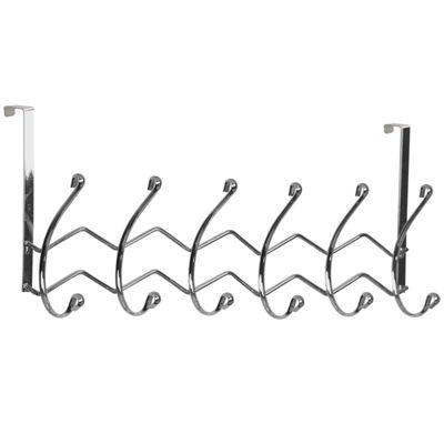 Home Basics Over-the-Door 6-Hook Chrome Hanging Rack