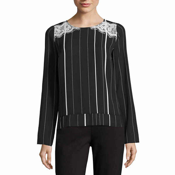 Worthington Long Sleeve Scoop Neck Woven Blouse-Talls