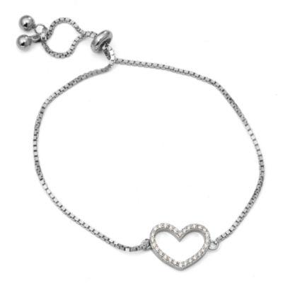 Diamonart Womens White Cubic Zirconia Sterling Silver Bolo Bracelet