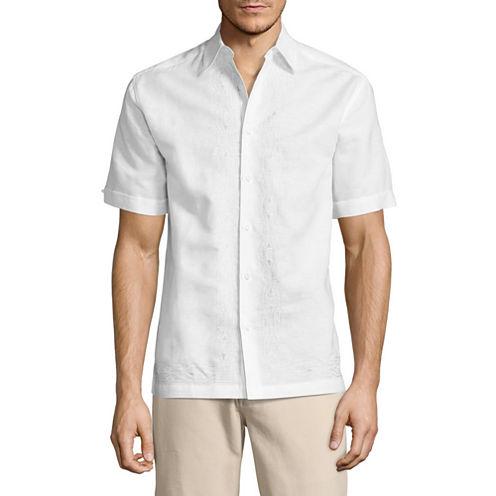 Havanera Short Sleeve Geometric Button-Front Shirt