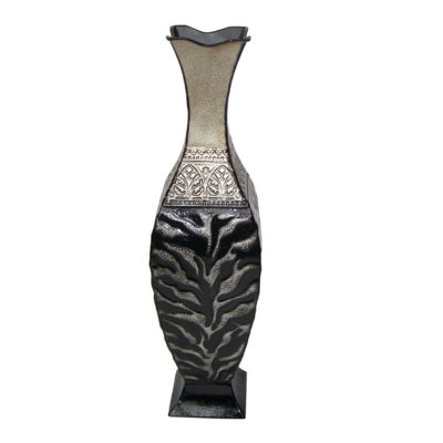 "24"" Black and Ivory Animal Print Vase"