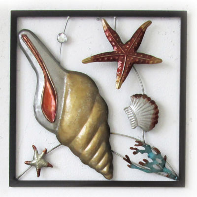 Conch Square Panel Wall Decor