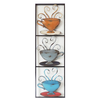 3 Tea Cups In Rectangle Left Wall Decor