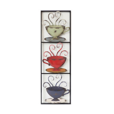 3 Tea Cups In Rectangle Right Wall Decor