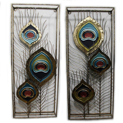 Peacock Feather Panels Wall Decor