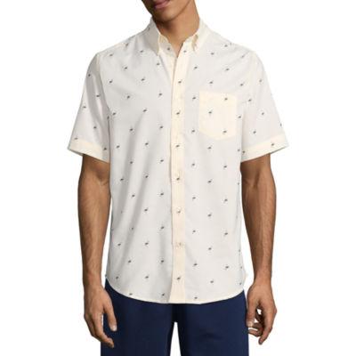 St. John's Bay Short Sleeve Checked Button-Front Shirt-Slim