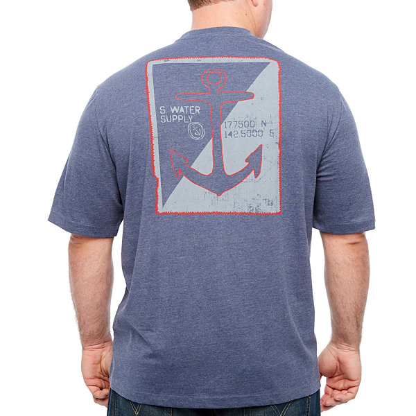 IZOD Anchor Print Graphic Tee Short Sleeve Crew Neck T-Shirt-Big and Tall