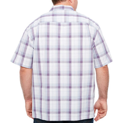 Van Heusen Air Cotton Rayon Short Sleeve Checked Button-Front Shirt-Big and Tall