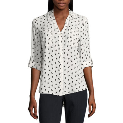 by&by Elbow Sleeve V Neck Dobby Blouse-Juniors