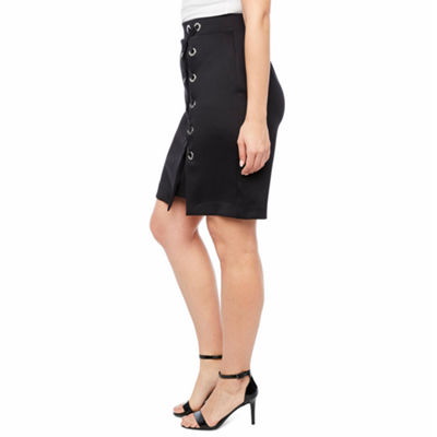 Bold Elements Scuba Lace Up Pencil Skirt