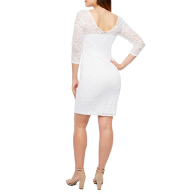 Bold Elements 3/4 Sleeve Silhouette Textured Lace Dress