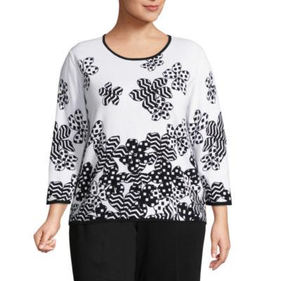 Alfred Dunner Upper East Side Floral Dot Border Sweater- Plus