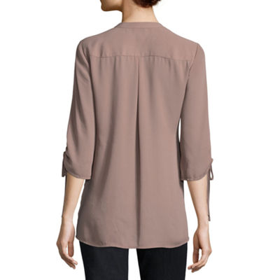 Worthington Zip Front  3/4 Sleeve Blouse - Tall